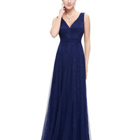 Prom Party Dress Women Sexy Blue V-neck Ruched Ever-Pretty  Long Summer Dress HE08532 2016 Prom Dresses