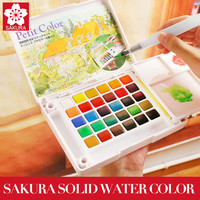 Sakura 18 24 30 Colors Watercolour Paint Box Portable Solid Petit Watercolor Paint Set Outdoor Art Drawing Painting Supplies