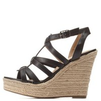 Black Caged T-Strap Espadrille Wedge Sandals by Charlotte Russe