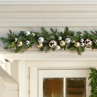 Outdoor Ornament Pine Garland - Gold/Silver   Pottery Barn