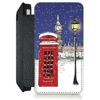 Winter Snow London PU Leather Flip Cell Mobile Phone Case iPhone 4 4S 5 5S , Samsung Galaxy S3 S4