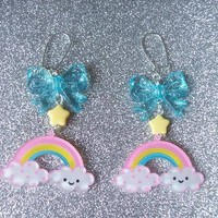 Sweet Skies II - Happy Cloud and Rainbow with Star and Bow Earrings from On Secret Wings