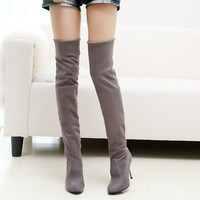 Retro Vintage Women Over the Knee Slim Thigh High Boots a13451