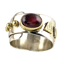 Garnet Two Tone Adjustable Band Ring