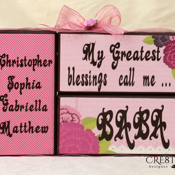 My Greatest Blessings Call Me with Grandkids Names on Wood Blocks