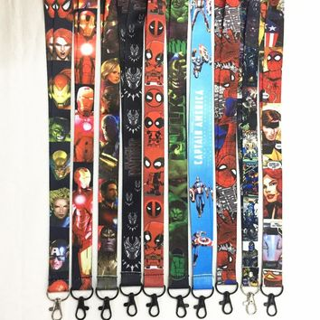 10 pcs/lot Marvel Avengers Infinity War lanyard ID badge card holder keychain Neck straps for mobile phone Cosplay accessories