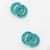 Double Circle Stud Crystal Earrings Turquoise