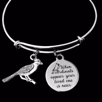 When Cardinals Appear Your Loved One is Near Adjustable Bracelet Expandable Bracelet Bangle Memorial Jewelry Memorial Gift