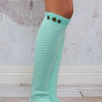Mint Chevron Button Leg Warmers