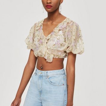 Embroidered Mesh Crop Ruffle Top - Clothing
