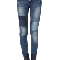 Patch Detail Skinny Jeans