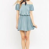 Pins & Needles Off-The-Shoulder Shirred Dress - Urban Outfitters