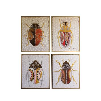 Oil Painting - Set Of 4 Beetles