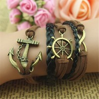 MagicPieces Anchor Braid Helm 5 Layers Black and Brown Handmade MultiLayered Bracelet For Women's Teens Friendship Birthday Gift