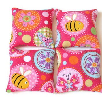 Girls Bean Bags Pink Butterflies Purple Flowers Yellow Bees Blue Green Summer Toy Mini Party Favor BeanBag (set of 4) - US Shipping Included