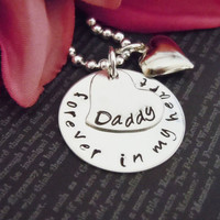 """Jewelry-Hand Stamped Jewelry-Personalized Necklace-Mommy Necklace-Childrens Necklace-Hand Stamped- """"Forever In My Heart Daddy"""""""