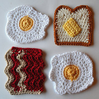 Breakfast Coasters - Sunny Side Eggs, Buttered Toast, and Bacon Coaster Set - Set of 4 - Gift Wrap in Sheer White Organza Bag Available