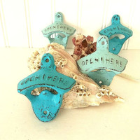 Bottle Opener distressed cast iron Turquoise or Light Blue Beach nautical decor bar ware, shabby cottage farmhouse rustic wall