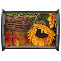 Fall Harvest Sunflowers Service Tray