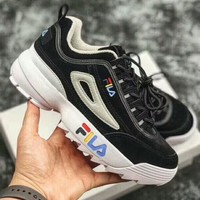 FILA Disruptor II Fashion Woman Men Casual Thick Sole Sneakers Sport Shoes Black I-A50-XYZ