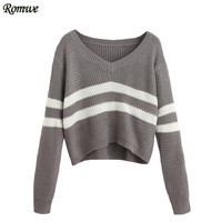 ROMWE Casual Pullover Sweaters For Women 2016 New Arrival Autumn Ladies Striped V Neck Long Sleeve Loose Crop Sweater