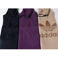 ADIDAS Fashion Casual Print Letter Sweater Hoodie Pullover Black G-WMGCD