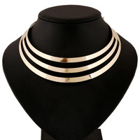 Necklace Gold Silver Alloy 3 Layers  StyleNecklace Fashion Jewelry Collares Women