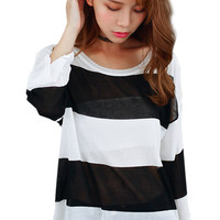 Color Block Stripe Long Sleeve Semi-Sheer Blouse