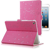 Cute Hello Kitty Stand Magnetic Smart Tablet Case Cover  for Apple IPad Mini 1/2/3 for Apple 7.9 Cover Case for Ipad Mini Retina