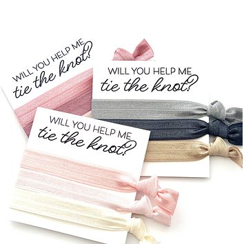 Blush Dusty Grey |  Bridesmaid Proposal Hair Tie Card Gift Wedding Party Hair Tie Favor