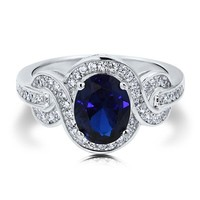 Oval Sapphire Cubic Zirconia CZ Sterling Silver Fancy Cocktail Ring #r583-02