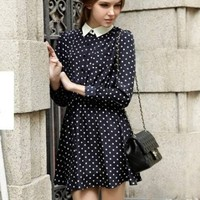 Navy Long Sleeve Polka Dot Pleated Dress - Sheinside.com