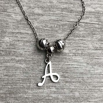 Personalized Basketball Charm Necklace with Letter Charm