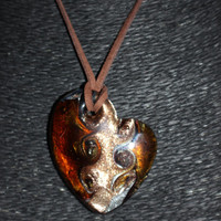 Murano Glass Heart with Swirls (Gold, Burnt-Orange) Pendant Necklace