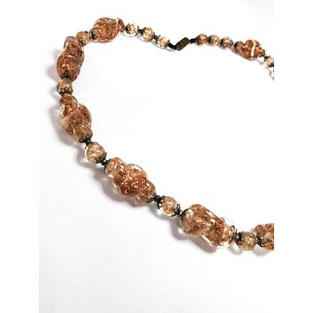 Antique Venetian Italian Venice aventurine aventura 24kt gold beaded necklace 1940's Murano glass