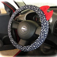 by (CoverWheel) Steering wheel cover for wheel car accessories Navy stars with red bow