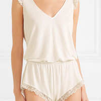 Eberjey - Rosario lace-trimmed stretch-modal jersey playsuit