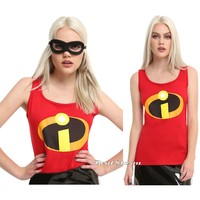 Licensed cool Disney Pixar The Incredibles JRS Ladies Tank Top Costume Cosplay Tee Shirt NWT