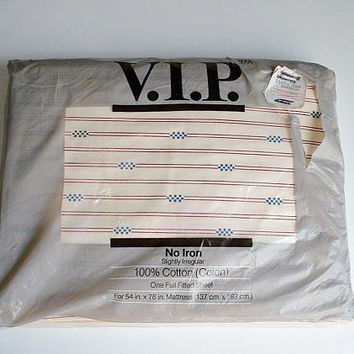 Full Fitted Sheet 100% Cotton in Original Package J.P. Stevens Stripes and Dots Vintage New Old Stock Irregular VIP