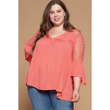 Solid Woven Babydoll Blouse