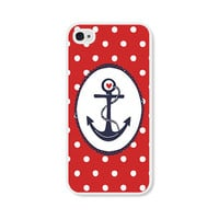 Red and White Polka Dot Anchor iPhone 4 Case - Navy Blue Plastic iPhone 4 Cover - Nautical Polka Dots iPhone 4 Skin - Cell Phone