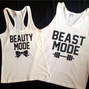Beast Mode & Beauty Mode Valentine's Day Matching Couples Tank Tops/Shirts: White and Black