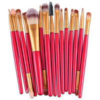 Toopoot 2017 Women 15pcs Professional Makeup Brushes Set tools accessories Make-up Toiletry Kit Wool Make up Brush Top Quality