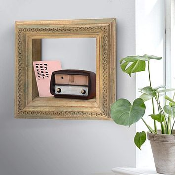 Molded and Carved Textured Mango Wood Wall Mounted Shelf, Distressed Brown By The Urban Port
