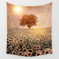 lone tree & sunflowers field (colour option) Wall Tapestry by Viviana Gonzalez