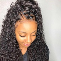 Cool Curly 360 Lace Frontal Wig Human Hair Wigs Pre Plucked Brazilian Remy Hair Bleached Knots 360 Full lace For Natural Black 150%AT_93_12