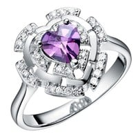 18K White Gold Plated Futuristic Heart Purple Crystal Cocktail Ring