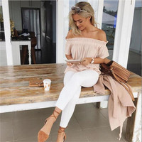 Off Shoulder Slash Neck Ruffles Top