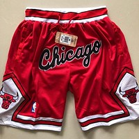 1997-98 Chicago Bulls Vintage Embroidered Pocket Zipper Ball Pants - Chicago