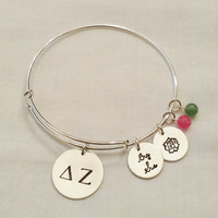Alex and Ani Style Greek Sorority Bracelet ~ DZ, Greek Letters, Sisterhood, Hand Stamped, Sterling Silver, Customized ~ MADE to ORDER